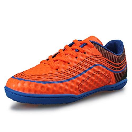 Hawkwell Kids Athletic Outdoor/Indoor Comfortable Soccer Shoes(Toddler/Little Kid/Big Kid),Orange PU,12 M US