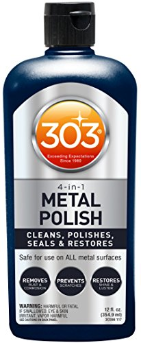 303 Metal Polish - Cleaner & Polish for Car Wheels Motorcycles Safe On All Metal Chrome Alloy Aluminum Stainless Steel Silver Copper Ultimate Shine & Preventing Rust With A Never - Scratched To A Repair Mirror How