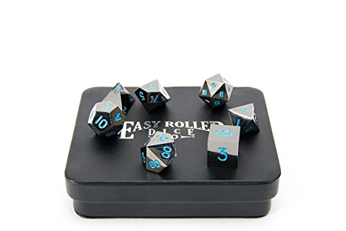 Powder Blue Gun Metal Polyhedral Dice Set | 7 Piece | Professional Edition | FREE Display Case | Hand Checked Quality Control