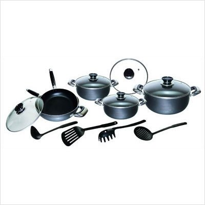 Imperial 14 Piece Hammertone Cookware Set With Bonus Griddle