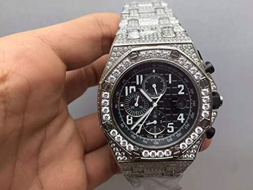 Luxury Brand Top high Japanese Quartz Chronograph Watch Watches Silver Color Decorated with Stones Black dial Rubber -