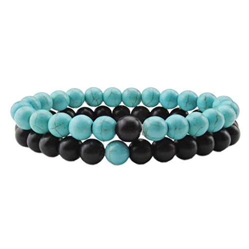 LIUANAN 2pcs/Set His/Hers Couples Bracelets Stretch Distance Bracelet for Girlfriend Boyfriend, Matte Agate Turquoise 8mm Beads Stone