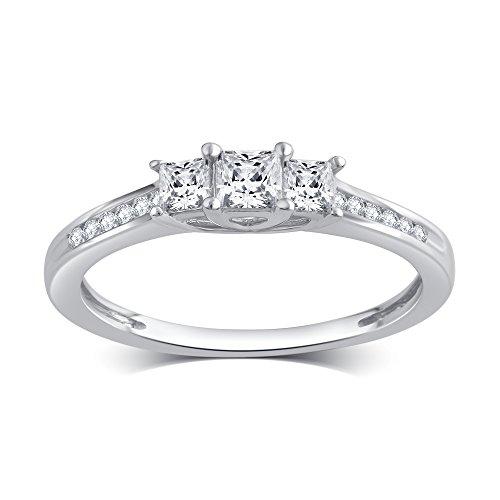 Cut Ladies Diamond Engagment Ring (1/2 Cttw Princess Cut Diamond Three Stone Ring in 10K White Gold)