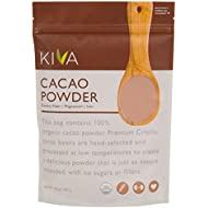 Kiva Raw Organic Cacao Powder (Unsweetened Cocoa - Dark Chocolate Powder) - Made from the BEST tasting PREMIUM Criollo Cacao Beans - Large 1 LB. Bag