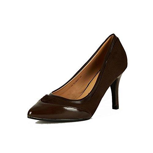 Zapatos de tacón punta estrecha de las mujeres con puntera de patentes y de cuero interno Dark Brown