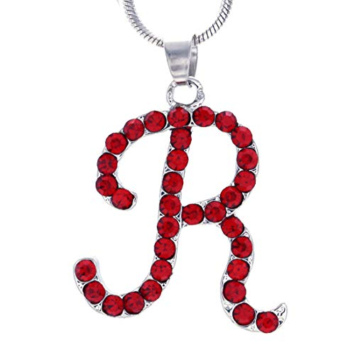 Soulbreezecollection Initial Letter R Pendant Necklace Charm Ladies Women Fashion Jewelry (Red)