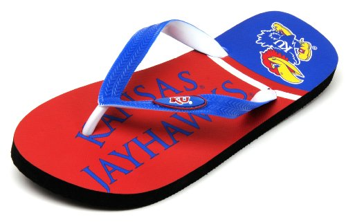 NCAA Kansas Jayhawks Spirit Flip Flops, Royal, - Maui Kansas