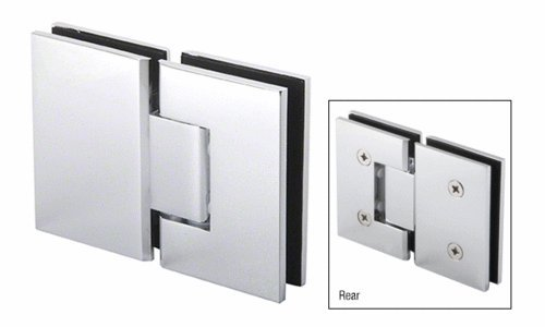 CRL Polished Chrome Melbourne Hinge 180 Degree Glass-to-Glass 1/2' Thick Door Screw