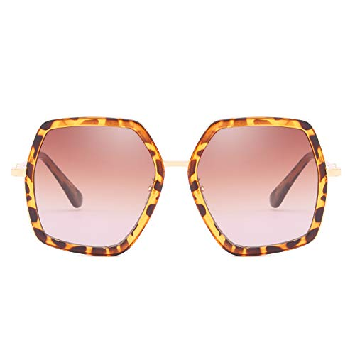 (Oversized Square Sunglasses for Women Retro Chic Metal Frame UV400 Geometric Brand Designer Shades (C2 Leopard Frame/Brown Lens))