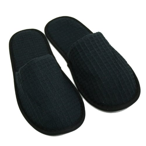 Waffle Closed Toe Adult Slippers Cloth Spa Hotel Unisex Slippers for Women and Men Black