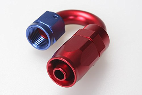 Autobahn88 Aluminum Swivel General Purpose Elbow Hose End Fitting, 180 Degree, 10AN, Blue/Red