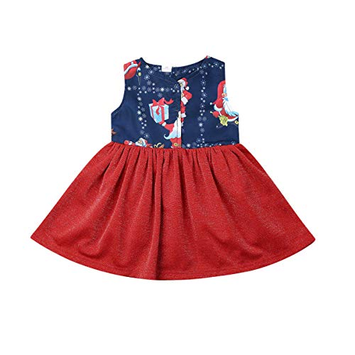 Xmas Little Sister Toddler Brother Christmas Santa Printed Clothes Set Boy Lapel T-Shirt Girl Floral Dress Matching Oufits 1-6T (red, 3-4 Years) (Brother And Sister Matching Christmas Outfits Uk)