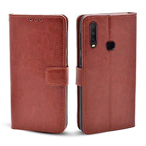 Pikkme Brown Leather Magnetic Vintage Flip Wallet Case Cover for Vivo Y12 / Y15 / Y17 / U10 (Brown)