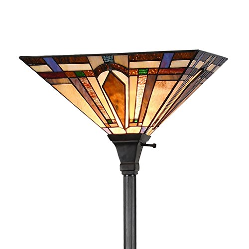 - Tiffany Style 1-Light Mission Floor Torchiere Lamp Standing Light Stained Glass Arrow Lampshade 69
