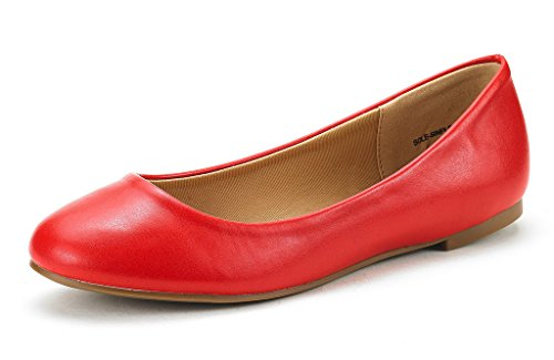Flat China Shoes - DREAM PAIRS Women's Sole Simple Red Pu Ballerina Walking Flats Shoes - 9 M US