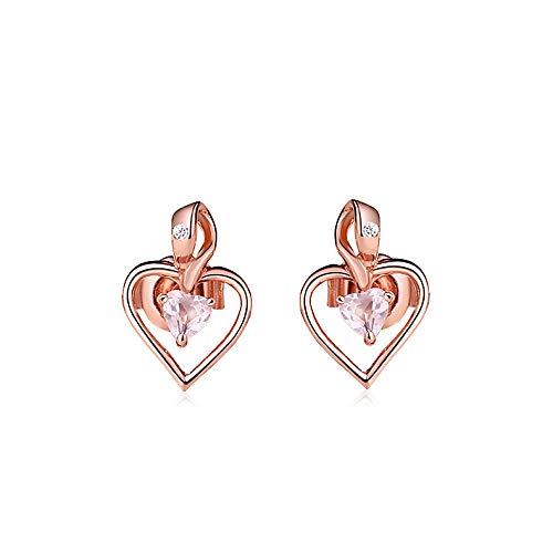- GYXYZB Silver Furong Stone Heart Stud Earrings Amethyst Apatite Earrings Valentine's Day Love Earrings