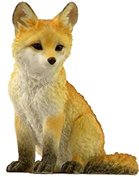 4.5 Inch Sitting Fox Cub Decorative Statue Figurine, Orange and White