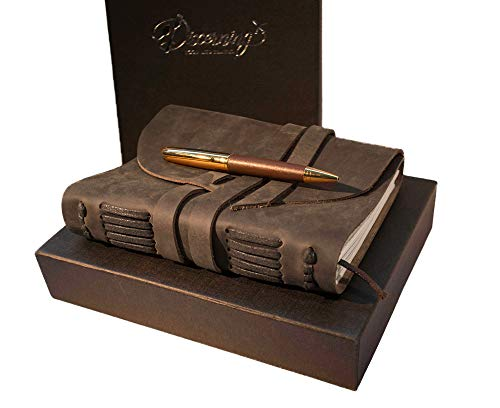 BEST LEATHER JOURNAL GIFT SET - for women men - UNIQUE SOFT ROLL UP vintage LUXURY medium UNLINED 7 x 5 notebook, antique PEN & BOX - FOR TRAVEL WRITING DIARY/ART SKETCHBOOK him her]()