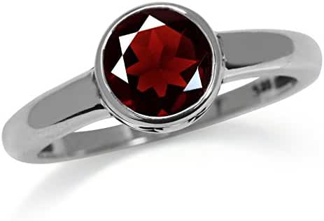 1.59ct. Natural January Birthstone Garnet 925 Sterling Silver Solitaire Ring