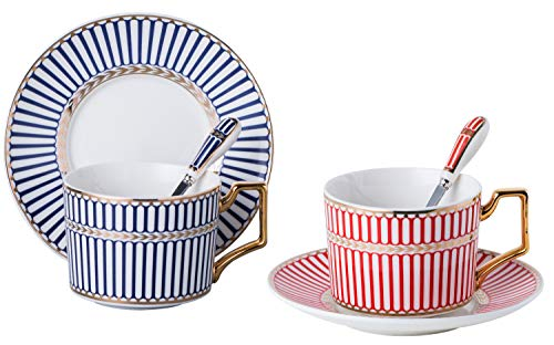 Set of 2 Elegant Modern Blue And Red Tea Cups and Saucers Set-Coffee Cup Set with Saucer and Spoon FD-TCS17 (Strip pattern) 2 Cup Tea Set