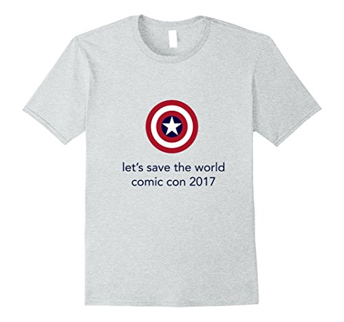 Mens Let's Save the World Comic Con 2017 T-Shirt with Shield Logo Small Heather (Comic Con Characters)