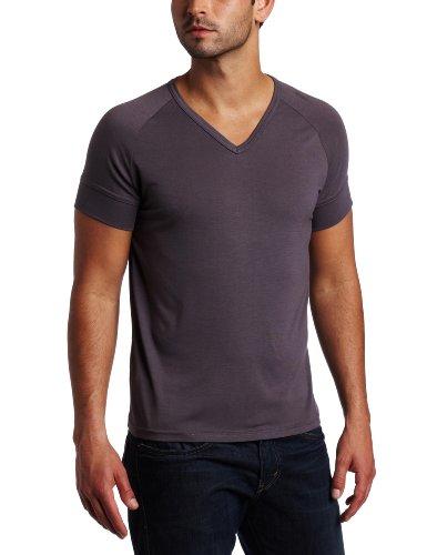 Vuthy Men's Ragland V-Neck T-Shirt, Gray, X-Large
