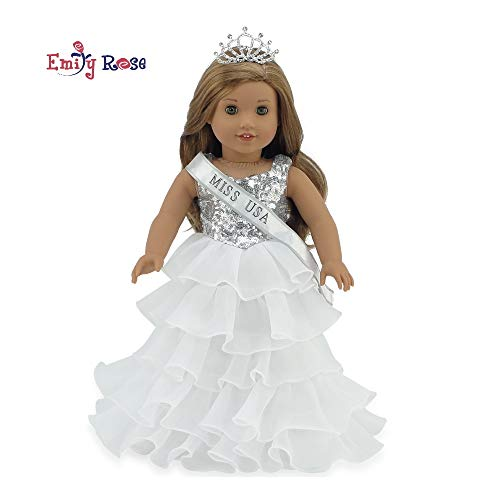 Emily Rose 18 Inch Doll Clothes for American Girl Doll   Ball Gown Pageant Doll Dress with Miss USA-Inspired Sash and Sparkling Crown!   Fits 18