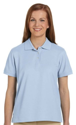 Sleeve Pima Pique Polo - Devon & Jones Ladies' Pima Pique Short-Sleeve Polo Sport Shirt D112W blue XX-Large