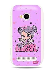 GRÜV Premium Case - 'Angel Princess Stars Hearts' Design - Best Quality Designer Print on White Hard Cover - for Nokia Lumia 710