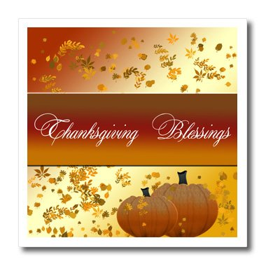 3dRose ht_165726_1 Thanksgiving Blessings, Fall Background and Pumpkins-Iron on Heat Transfer Paper for White Material, 8 by 8-Inch (Pumpkin Background)