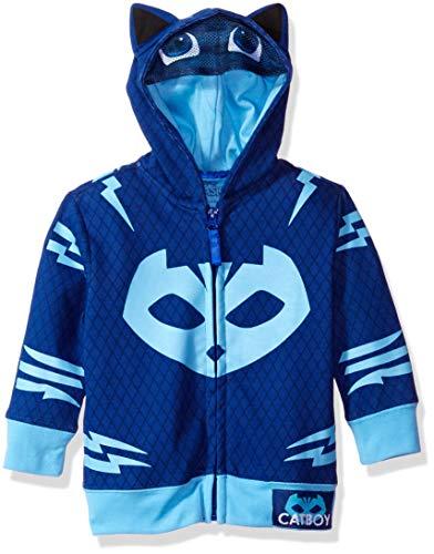 PJ Masks Boys' Toddler Gekko and Catboy Hoodie, Blue, 2T (Cuddle Buddies Wall)