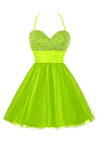 Dresses Bess Bridal Beaded Women's Lime Halter Prom Tulle Green Homecoming Z0FqZw