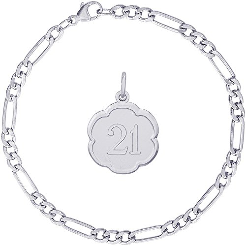 Rembrandt Charms Sterling Silver Number 21 Scalloped Disc Charm on a Classic Figaro Bracelet, 8