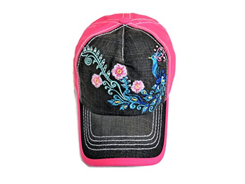 red Peacock W/Stones Washed Black Denim/Fuchsia Baseball Cap (Peacock Embroidered Jean)