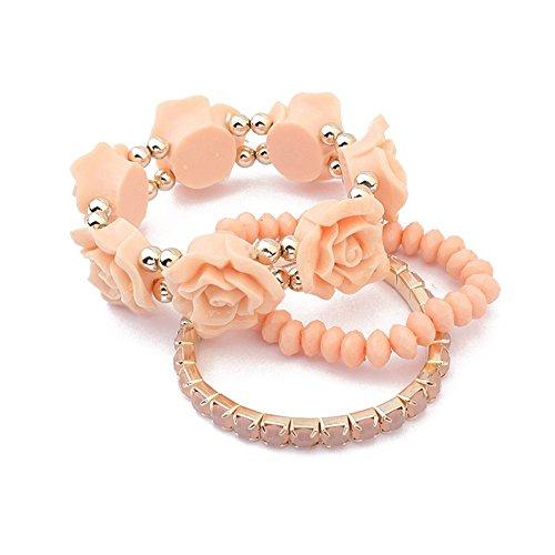 [Winter's Secret Multi Strand Sweet Pink Color Alloy Beaded Wrist Rose Flower Bohemia Stretch] (Arrest Shoes Adult)