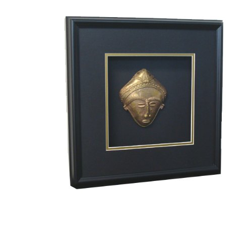 African Mask Shadow Box (African Brass Akuaba Shadow Box - Handmade in)