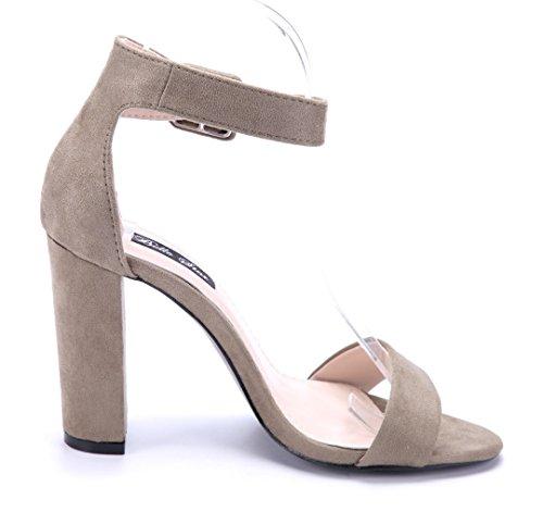 Schuhtempel24 Damen Schuhe Sandaletten Sandalen Blockabsatz 10 cm High Heels Grün
