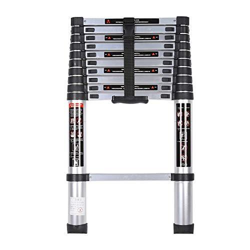 Tbest Escalera telescópica Escalera telescópica de extensión de 3,2 m Escalera Extensible portátil de aleación de…