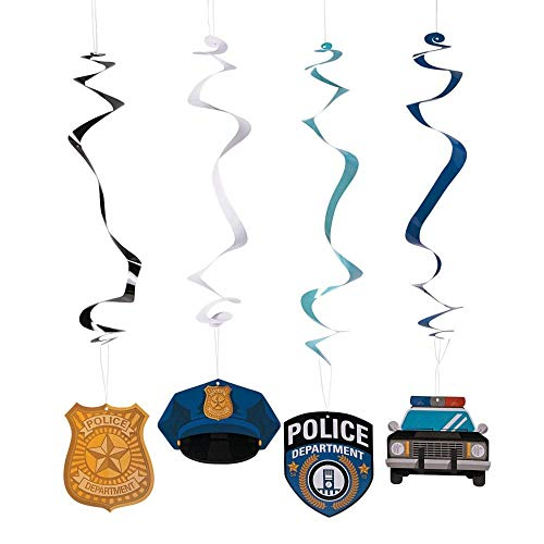 Police Party Hanging Swirls - 12 ct -