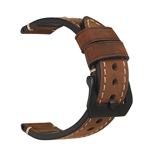 Leather Watch Strap,EACHE Crazy Horse Genuine Leather Handmade Watchband,26mm, Dark Brown-Black Hardware