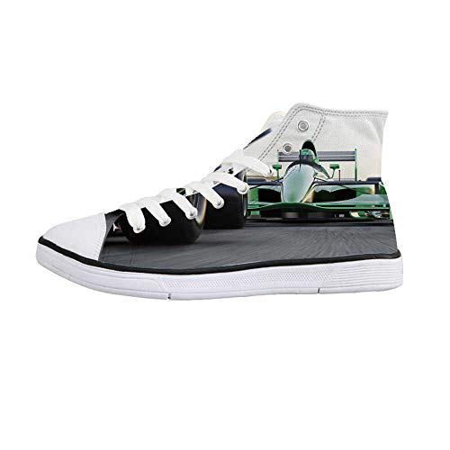 Cars Stylish High Top Canvas Shoes,Motorized Sports Theme Indy Cars on Asphalt Road with Motion Blur Formula Race for Men & Boys,US 10