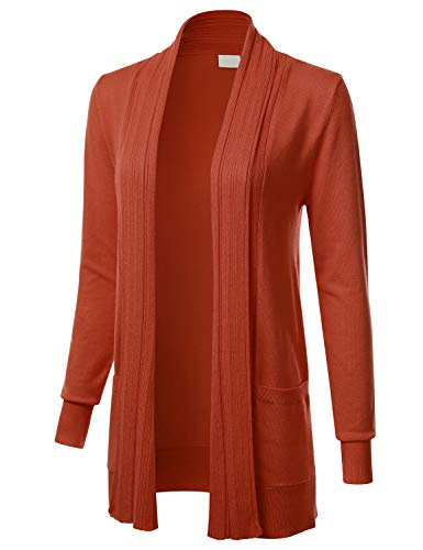 Women's Long Sleeve Open Front Drape Ribbed Cardigan with Pockets Rust L