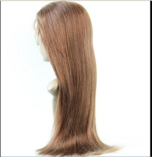 "DaJun Hair 10"" Italian Yaki Full Lace Wig Human Hair Wigs cambodian Virgin Remy Human Hair Yaki Straight Color #4 Light Brown"