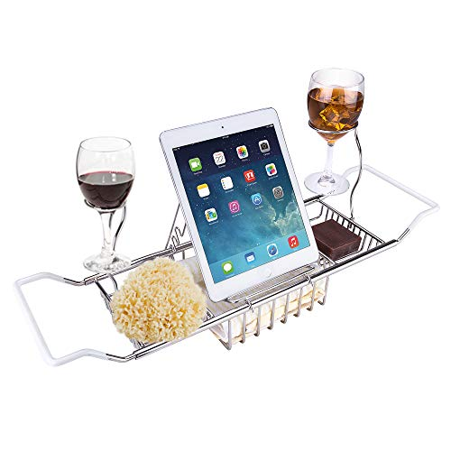 Bathtub Caddy Tray - Wine Glass and Book Holder