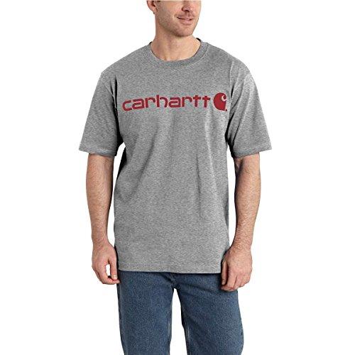 Carhartt Men's B&T Signature Logo Short-Sleeve Jersey T-Shirt K195, Granite Heather, 2X-Large