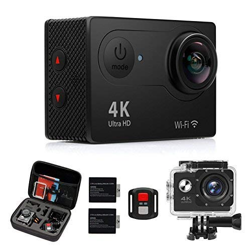 Action Camera, 4K WiFi Ultra HD 16MP Waterproof Sport Camera 2 Inch LCD Screen 12MP 170 Degree Wide Angle 2 Rechargeable Batteries Free Travel Bag Include Accessories Kits EagleCam