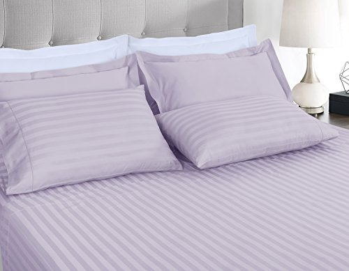 Cotton Hemstitch Bed Linen - Threadmill Home Linen 500 Thread Count Damask Stripe Cotton Sheets 100% ELS Cotton, Hem Stitch Luxury 4 Piece Bed Sheet Set, Fits Mattresses up to 18 inches deep, Smooth Sateen Weave, Queen, Lilac