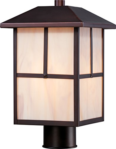 Nuvo Lighting 60/5675 Tanner Post One Light Lantern 100-watt A19 Outdoor Porch and Patio Lighting with Honey Stained Glass, Claret Bronze by Nuvo Lighting