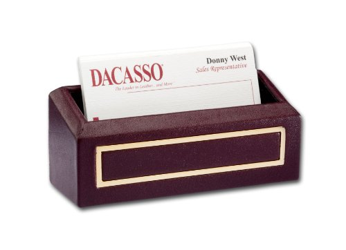 Dacasso 24-Karat Gold Tooled Burgundy Leather Business Card Holder by Dacasso
