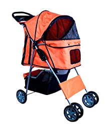 New Deluxe Folding 4 Wheel Pet Dog Cat Stroller Carrier w Cup Holder Tray (Orange)